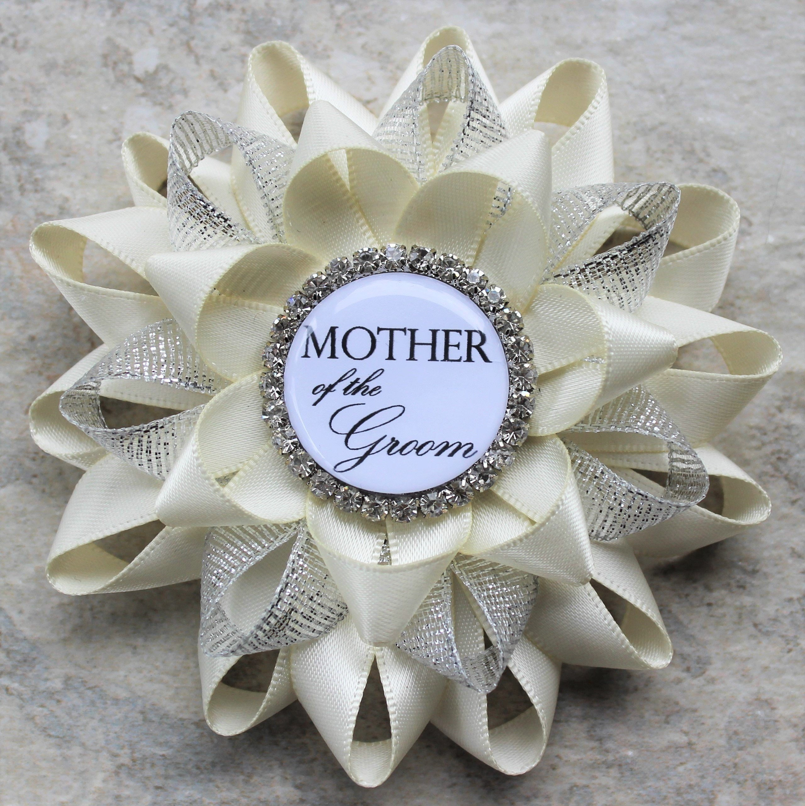 bridal shower gift mother of the groom gift mother of the bride grandmother of the bride wedding corsage pins ivory and silver
