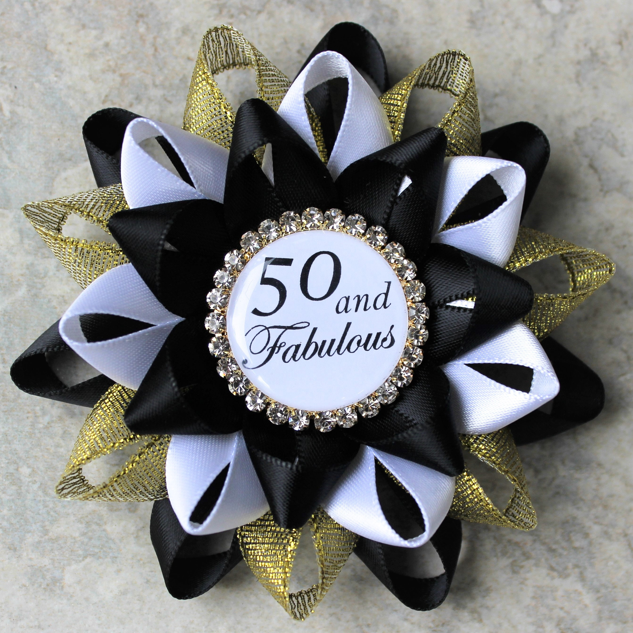 50th Birthday Pin 50 And Fabulous Party Decorations Fiftieth Gift For Women Black Gold White