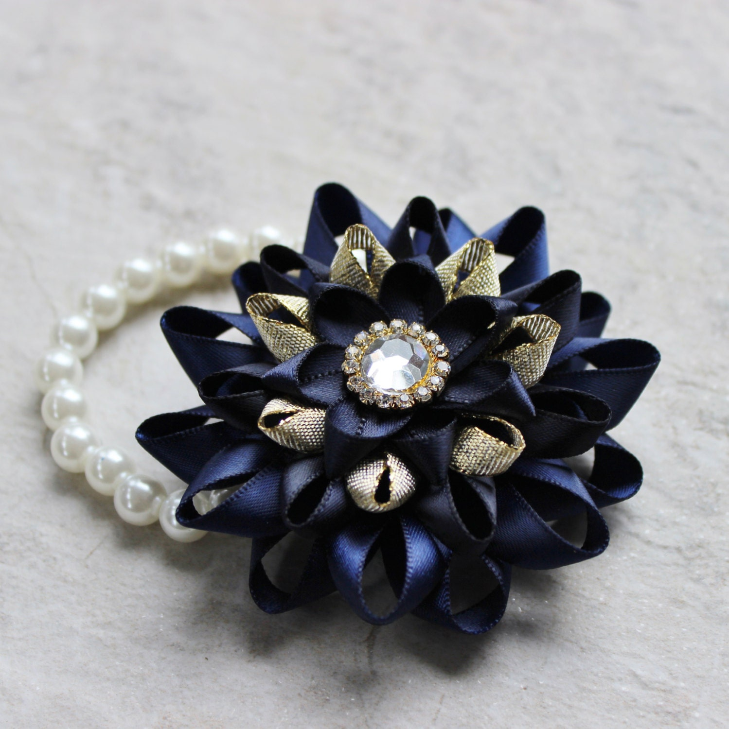Wrist Corsage Navy Blue Corsage Navy Blue And Gold Prom Corsage