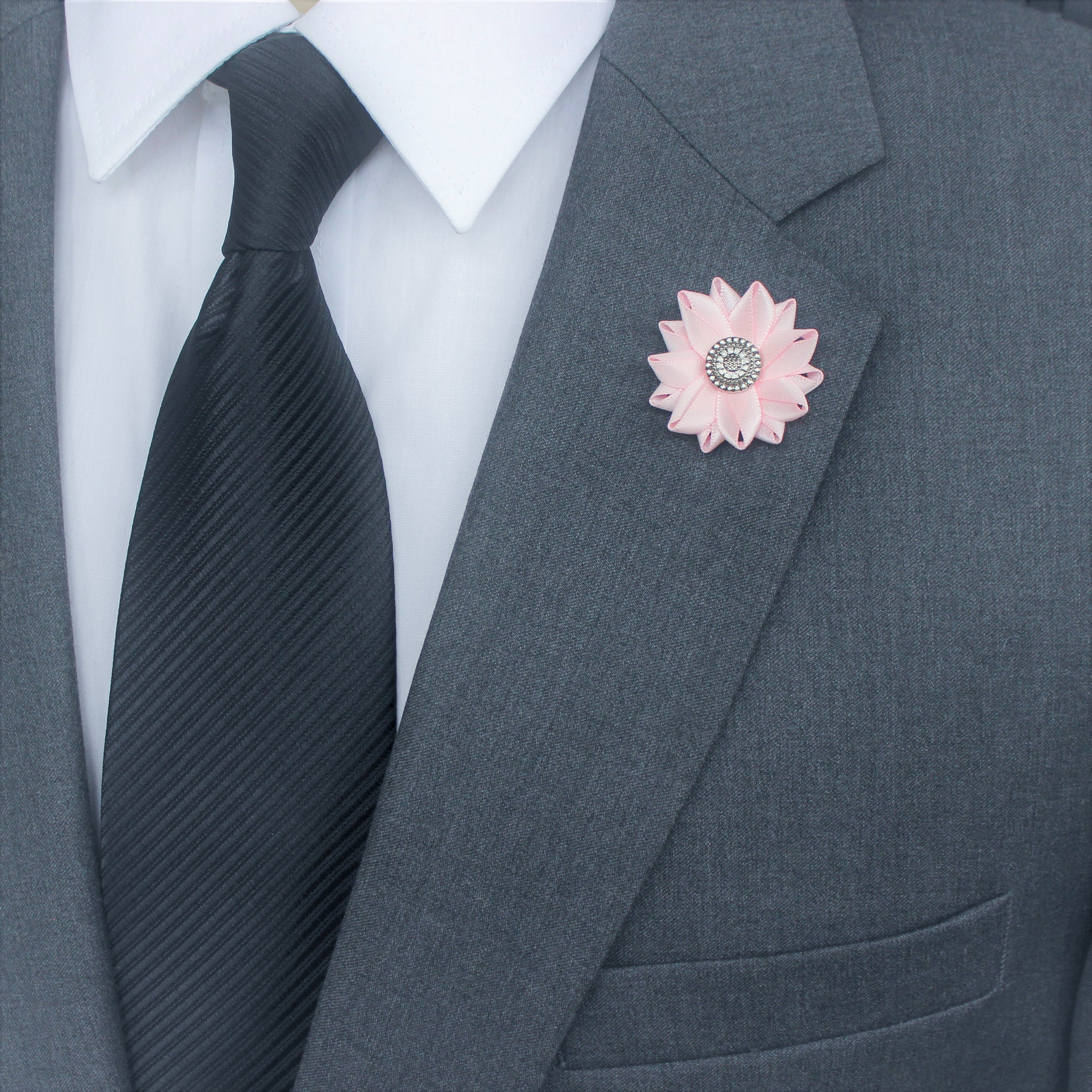 Pink Lapel Flower Mens Lapel Pin Gentlemans Gift Mens Fashion