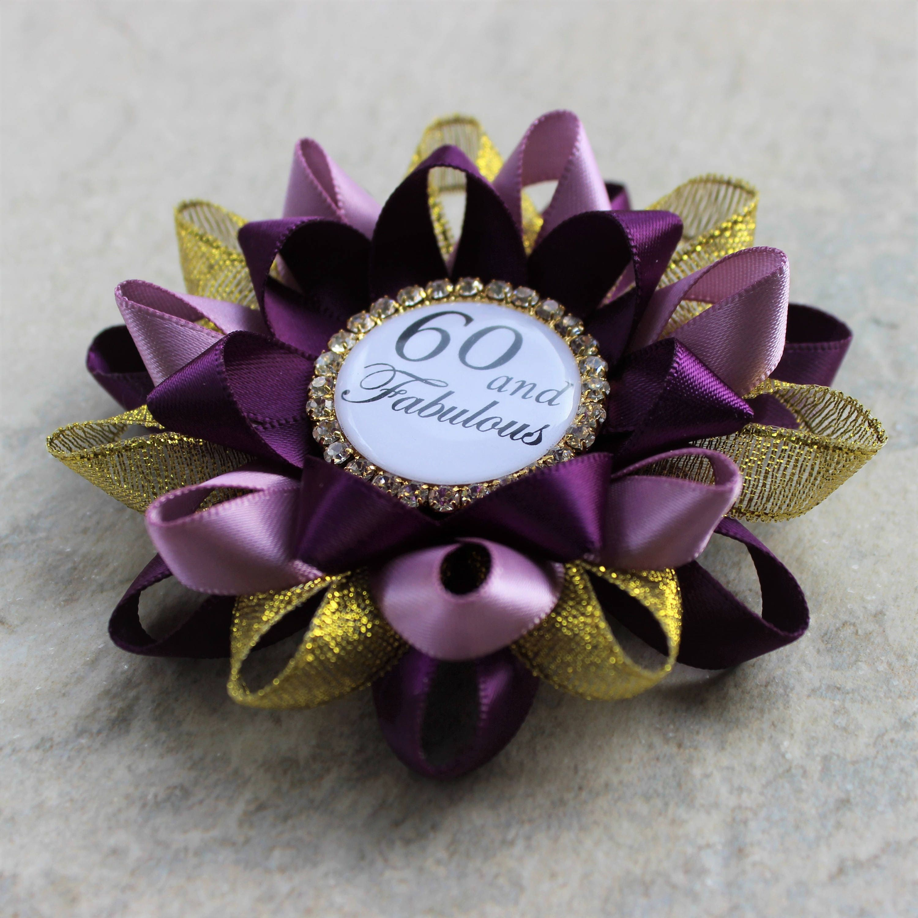 60th Birthday Gifts For Women Pin Gift Mom Sixtieth Party Decorations Deep PurpleGold Thistle