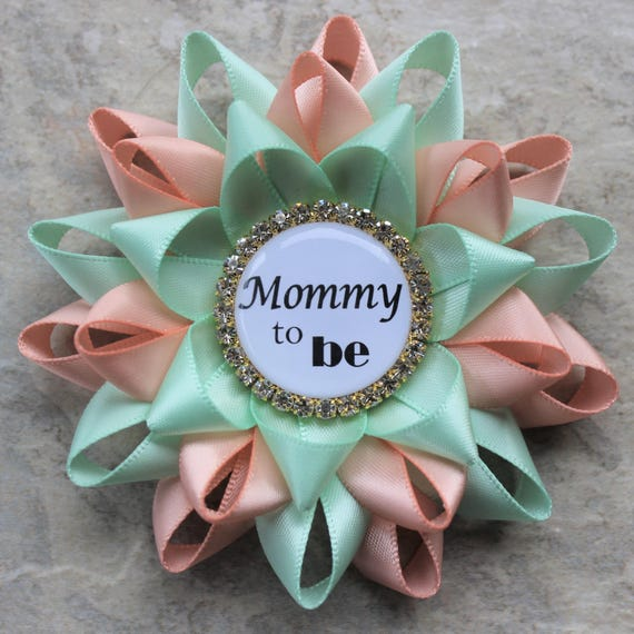 Mint And Peach Baby Shower Pins Peach And Mint Baby Shower Etsy