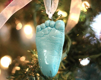Toddler Handprint OR Footprint Ornament -  First Ornament - Personalized Baby Keepsake Ornament - Gift for Toddler - Baby Print = Footprint