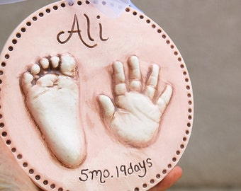 Hand and Foot Print Kit Ceramic Clay Relief 2D POP Out Prints Handprint Mold Keepsake Baby Gift