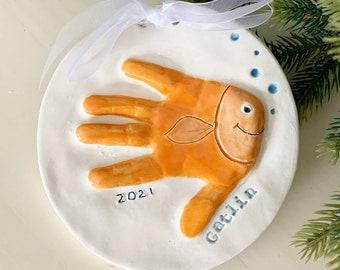 Handprint Ornament, Handprint Fish, Handprint Keepsake, Baby Handprint, Toddler Handprint Gift, Handprint Art, Childs Handprint in Ceramic