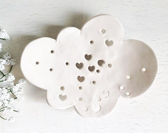 White Ceramic Soap Dish, Whimsical Cloud Dish Whimsical Bath Soap Dish Cloud Soap Dish Cloud Plate  Soap Plate Ceramic Cloud Ceramic Dish