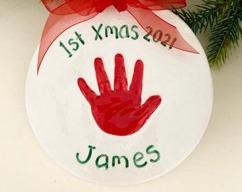 Baby's First Christmas Ornament Keepsake Handprint