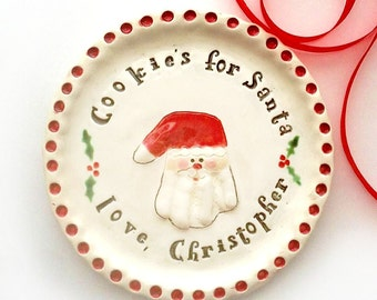 Personalized Christmas Plate - Custom Baby Christmas Plate - Handprint Cookie Plate Gift - Christmas Personalized Gift
