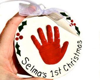 Handprint Ornament, Baby's First  Christmas Ornament, Baby Birth Gift, Newborn Keepsake Present Handprint Kit