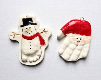 Reserved Custom Baby Christmas Ornaments Hand and Footprint Keepsake Personalized Baby Gift