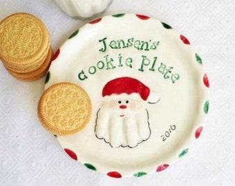 Baby Keepsake Custom Baby Christmas Plate - Handprint Cookie Plate Gift - Christmas Personalized Gift