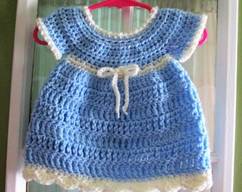 Baby dress, hand crocheted, 0-3 months, light blue and cream