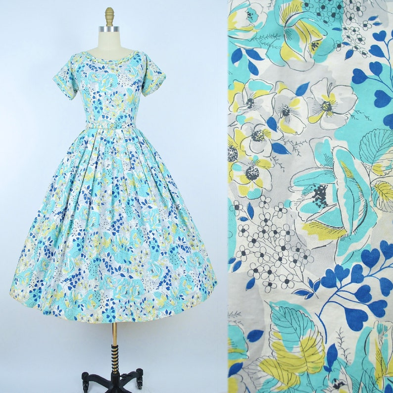 Vintage 50s Dress  1950s Cotton Sundress Navy Mint Blue Floral Heart Leaf Print Belted Full Circle Skirt Pinup Summer Garden Party Small S
