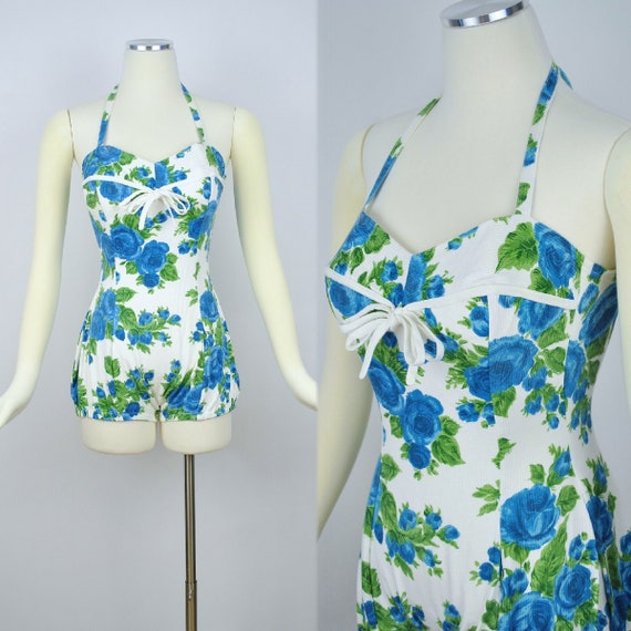 Vintage 1950s ROSE Print Playsuit Beach Suit / 195