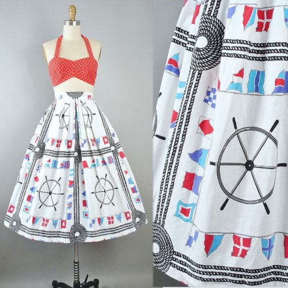 Vintage 50s Novelty Print SKIRT Halter Sun Top 2pc