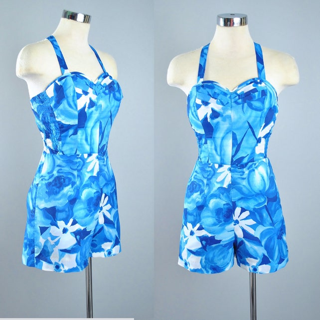 29e5ee0a81b Vintage 50s 60s HAWAIIAN PLAYSUIT Romper   1950s Cobalt Blue