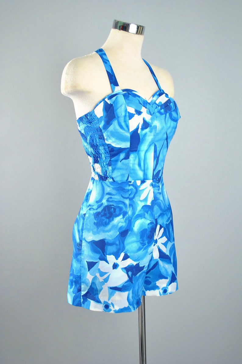 36743e1002 Vintage 50s 60s HAWAIIAN PLAYSUIT Romper   1950s Cobalt Blue