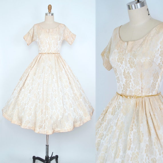 Vintage 50s Holiday Dress / 1950s Youth Guild Beig