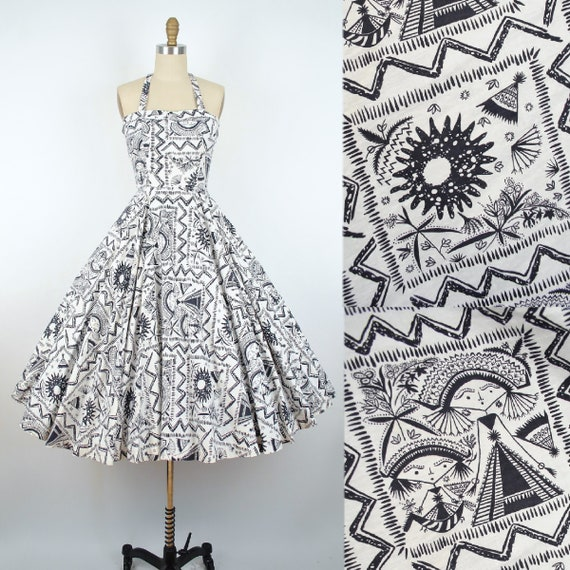 Vintage 50s Adele Martin Novelty Print Dress / 195