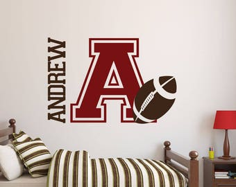 Football Wall Decal   Name Decal   Name Stickers   Name Wall Decal   Custom  Decals   Boys Room Decor   Wall Decals   Wall Stickers