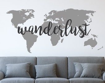 Wall Sticker World Map.World Map Wall Decal Etsy