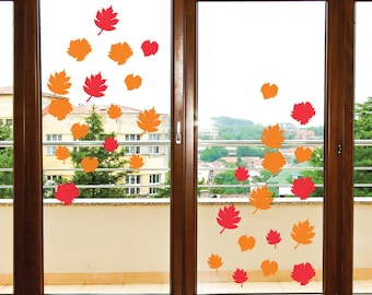reusable leaves fall leaves window cling halloween decor halloween decorations halloween signs fall decor fall decorations