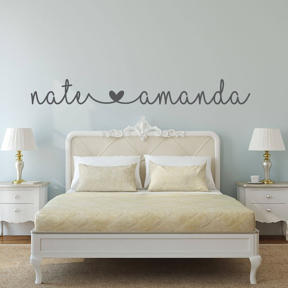Name Decal - Name Stickers - bedroom wall decal - bedroom decor - bedroom  wall decor - connected hearts name - wedding gift -engagement gift