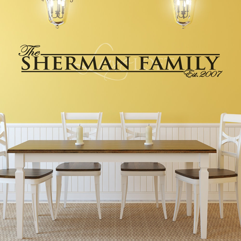 Family Name Wall Decal Family Name Decal Personalized | Etsy