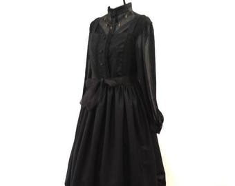 Gothic Lolita Long  Black Dress - Goth Dress and shirt - Victorian Dress - Mourning Outfit