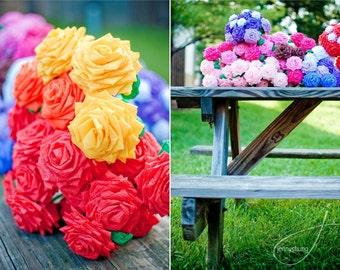 Paper Flowers Bouquet  - 1 Dozen Long-stem Custom Handmade