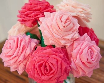 Paper Flowers Bouquet - 9 Short-stem Mixed Pink