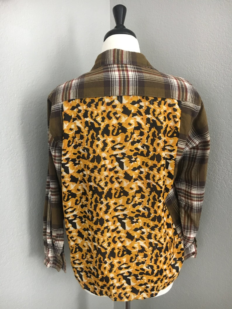 Women/'s Plaid Flannel Button Down Shirt Leopard Print Refashion sz XSS Handmade OOAK