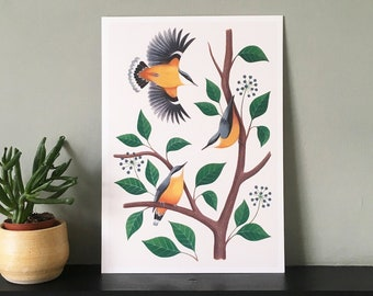 Nuthatches Giclée Art Print | Signed Print of Original Painting, A4/A3 | British Wildlife Illustration | Birder Gift