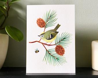 Goldcrest | Greetings Card | British Wildlife Illustration | Bird Art Notecard A6