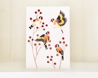 Goldfinches | Greetings Card | British Wildlife Illustration | Bird Art Notecard A6
