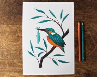Kingfisher Giclée Art Print | Signed Print of Original Painting, A4 | British Wildlife Illustration | Bird Wall Art