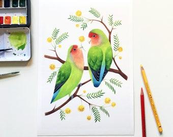 Lovebirds Giclée Art Print | A4 Signed Print of Original Painting | Bird Wall Art | Valentines Gift