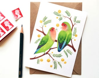 Lovebirds | Greetings Card | Bird Art Notecard A6 | Valentine's Day, Anniversary