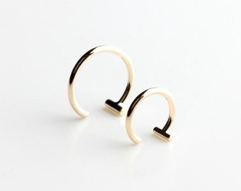 Essential - dash hoop earring - minimalist gold bar hoop earring