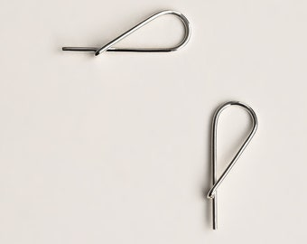 Small Safety Pin Earrings - silver hoop like earring - silver small safety pin hoop earring