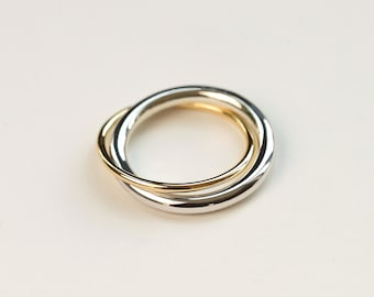 Gold lovers ring - gold and silver double band - mixed metal ring