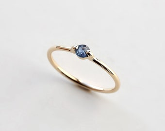 Sapphire solitaire ring - natural deep blue sapphire solitaire ring - engagement ring