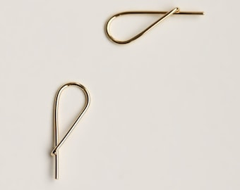 Small Safety Pin Earrings - gold hoop like earring - yellow gold small safety pin hoop earring