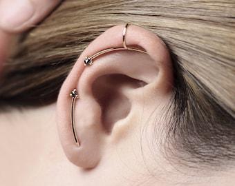 Reverse - black diamond ear cuff - minimalist gold ear cuff earring
