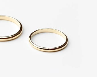 Essential - gold half round band ring - classic yellow gold ring - wedding band ring