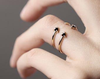 Reverse - double black diamond gold ring - natural double black diamond open band ring - minimalist engagement ring