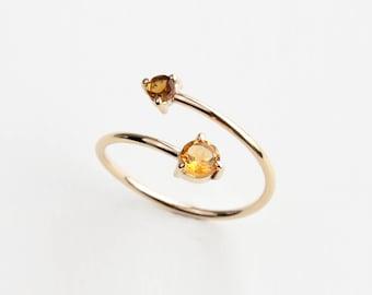 Citrine and tourmaline wrap ring - orange citrine and tourmaline gold wrap ring - unique engagement ring