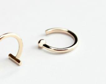 Essential - gold dot earring - minimalist gold tiny dot hoop earring