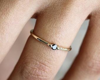 Black diamond gold ring - natural black diamond solitaire ring - minimalist engagement ring