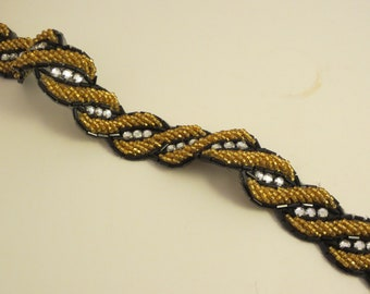 84cee00d36eb Fabulous Black and Gold Beaded Trim with Rhinestones--By the Yard